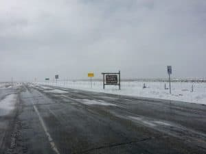 snow on road in late April