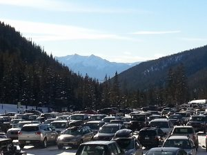 The view from the A-Basin lot looking back towards Keystone and the remainder of Summit County